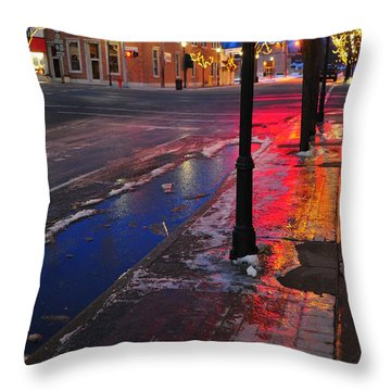 Clare Michigan At Christmas 10 Throw Pillow by Terri Gostola