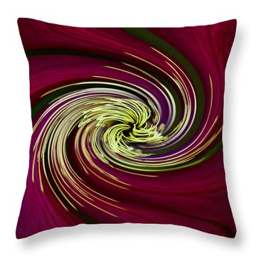 Claret Red Swirl Clematis Throw Pillow by Debbie Oppermann