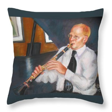 Clarinet At Palm Court Throw Pillow