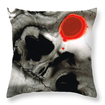 Clarity - Black And White Art Red Painting Throw Pillow by Sharon Cummings
