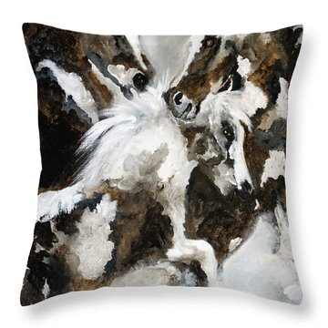 Clash Of The Marbled Stallions Throw Pillow