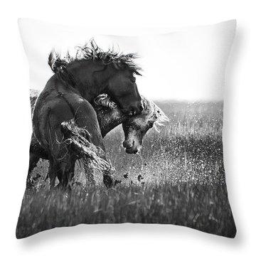 Clash Of Two Wild Stallions Throw Pillow by Bob Decker
