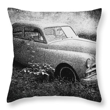 Clasic Car - Pen And Ink Effect Throw Pillow by Brian Wallace