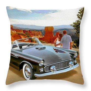 Classic 1955 Thunderbird At Bryce Canyon Black  Throw Pillow