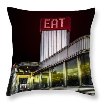 Classic American Diner At Night Throw Pillow by Diane Diederich
