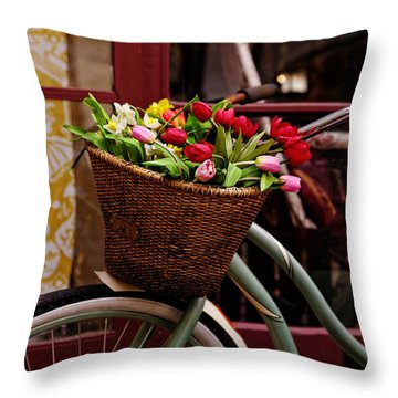 Classic Bike With Tulips Throw Pillow