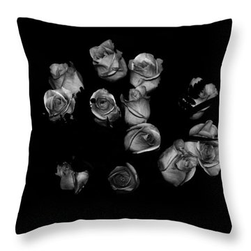 Classic Black Roses Throw Pillow