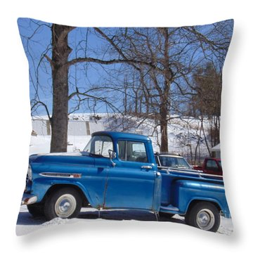 Classic Blue Truck Throw Pillow by Charlotte Gray