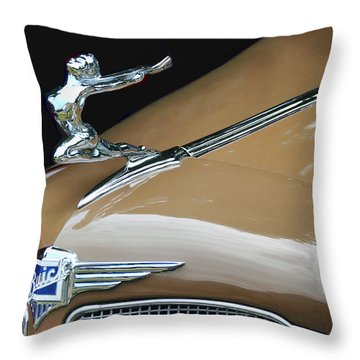 Classic Car - Buick Victoria Hood Ornament Throw Pillow by Peggy Collins