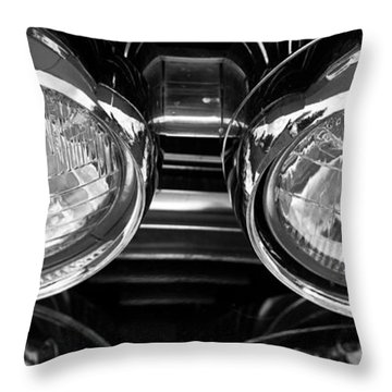 Classic Car Grill And Lights Throw Pillow by Mick Flynn