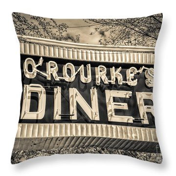 Classic Diner Neon Sign Middletown Connecticut Throw Pillow by Edward Fielding