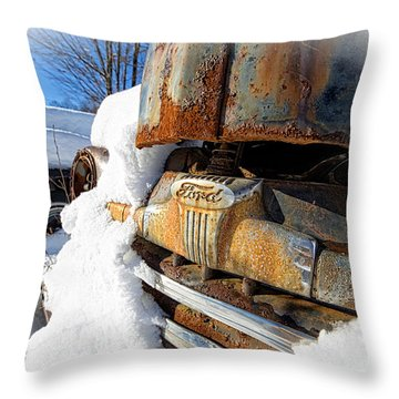 Classic Ford Pickup Truck In The Snow Throw Pillow by Edward Fielding