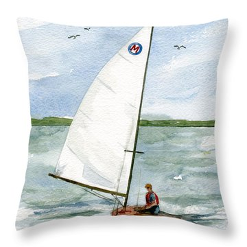 Throw Pillow featuring the painting Classic Moth Boat by Nancy Patterson