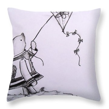 Classic Pooh Throw Pillow by Jessica Sanders