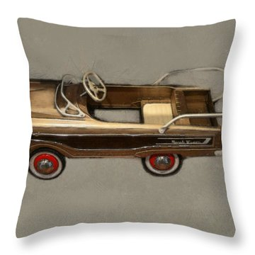 Classic Ranch Wagon Pedal Car Throw Pillow by Michelle Calkins