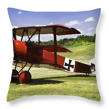Classic Red Barron Fokker Dr.1 Triplane Photo Throw Pillow by Keith Webber Jr