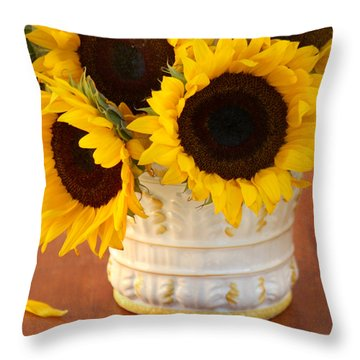 Classic Sunflowers Throw Pillow by Art Block Collections