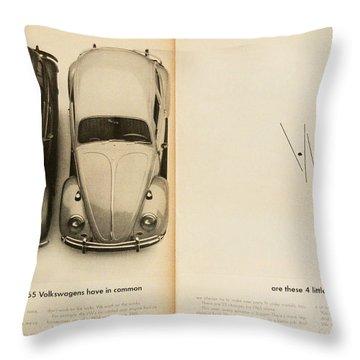 Classic Volkswagen Beetle Vintage Advert Throw Pillow by Georgia Fowler