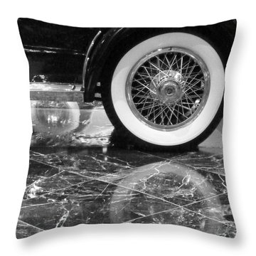 Throw Pillow featuring the photograph Classic Wheels Blk And Wht by Cheryl Del Toro