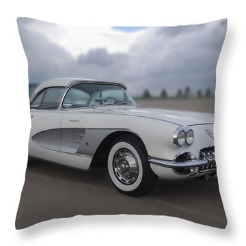 Classic White Corvette Throw Pillow by Chris Thomas