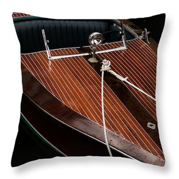 Classic Wooden Power Boat Throw Pillow