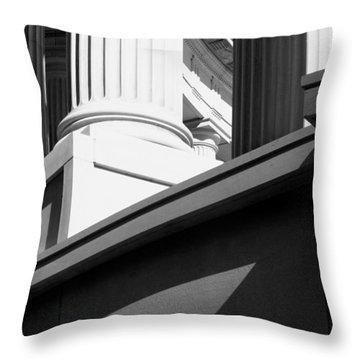 Classical Architectural Columns Black White Throw Pillow