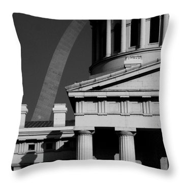 Classical Courthouse Arch Black White Throw Pillow