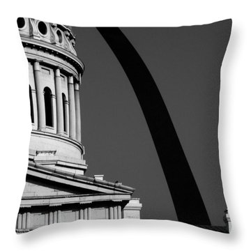 Classical Dome Arch Silhouette Black White Throw Pillow