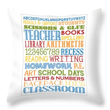 Classroom Subway Art Poster Throw Pillow