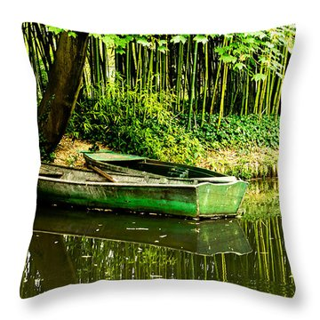 Claude Monet And His Rowboats Throw Pillow by MaryJane Armstrong
