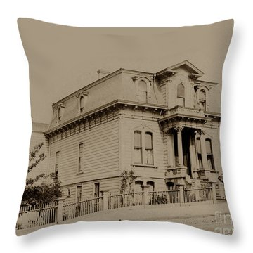 Clay And Hyde Street's San Francisco Built In 1874 Burned In The 1906 Fire Throw Pillow by California Views Mr Pat Hathaway Archives