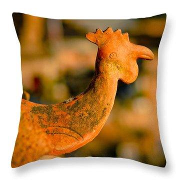Clay Cockerel Bhaktapur Throw Pillow