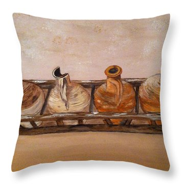 Clay Jugs In A Row Throw Pillow by Brenda Brown