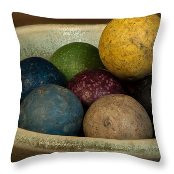 Clay Marbles In Bowl Throw Pillow