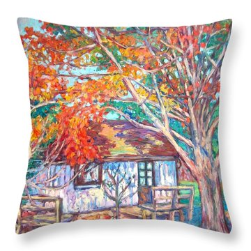 Claytor Lake Cabin In Fall Throw Pillow
