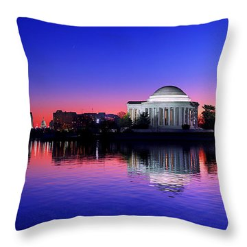 Clear Blue Morning At The Jefferson Memorial Throw Pillow
