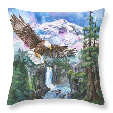 Throw Pillow featuring the painting Cleared For Landing Mount Baker by Sherry Shipley