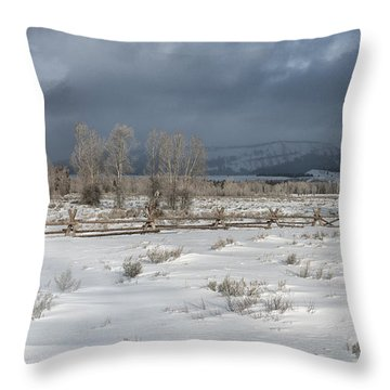 Clearing Storm In The Tetons Throw Pillow by Sandra Bronstein