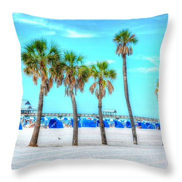 Clearwater Beach Throw Pillow by Debbi Granruth