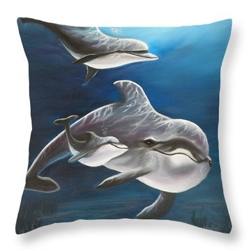 Clearwater Beach Dolphins Throw Pillow