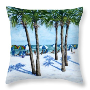 Throw Pillow featuring the painting Clearwater Beach Morning by Penny Birch-Williams