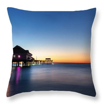 Clearwater Beach Pier Throw Pillow by Steven Reed