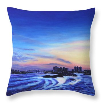 Throw Pillow featuring the painting Clearwater Beach Sunset by Penny Birch-Williams