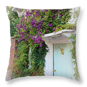 Clematis Around The Door Throw Pillow by Terri Waters