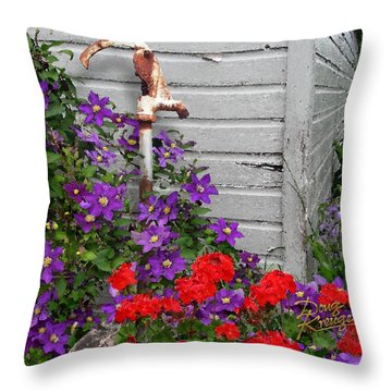 Clematis Cascade Throw Pillow by Doug Kreuger