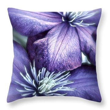Clematis Throw Pillow by Linda Bianic