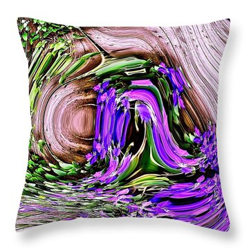 Clematis On A Fence Throw Pillow