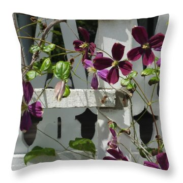Throw Pillow featuring the photograph Clematis  by Scott Kingery