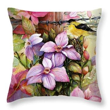 Clematis Vine And Goldfinch Throw Pillow by Patricia Schneider Mitchell