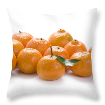 Throw Pillow featuring the photograph Clementine Oranges On White by Lee Avison